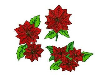 Disegni Di Stelle Di Natale.Formato Pes 10 Disegni Stella Di Natale Natale Fiore Macchina Etsy