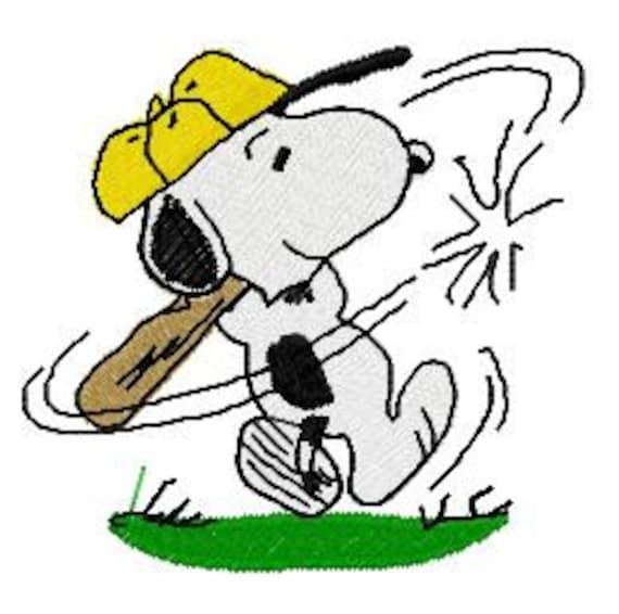 Snoopy jugando béisbol deportes diseño de bordado descargar | Etsy
