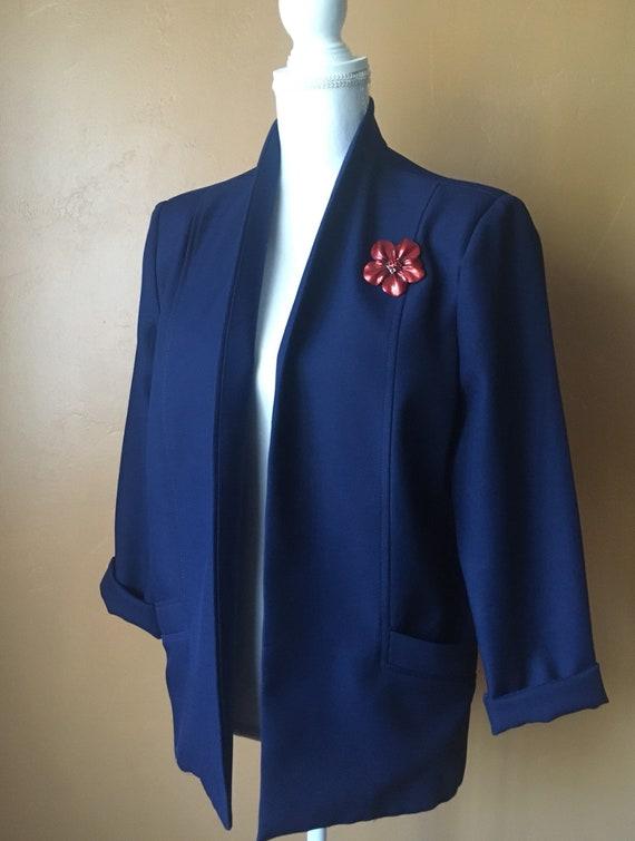M12 1980s Blazer Jacket \u2022 Navy Blue Blazer with Brooch \u2022 Vintage Blazer \u2022 Mervyn/'s Bending Easy Blazer