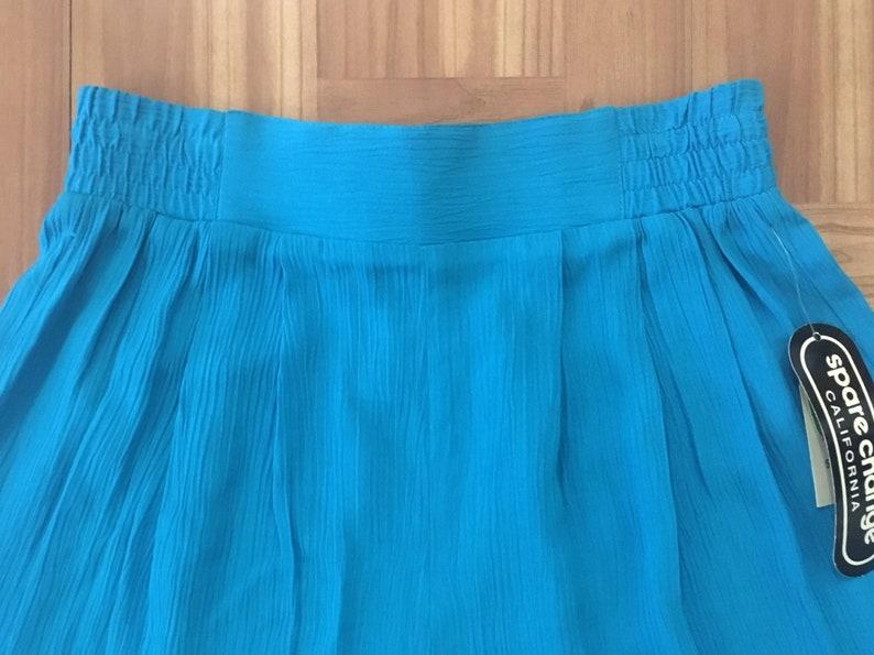 1990s Rayon Shorts S \u2022 Bright Turquoise Skirted Elastic Waist Shorts with A Longer Length \u2022 90s Fashion