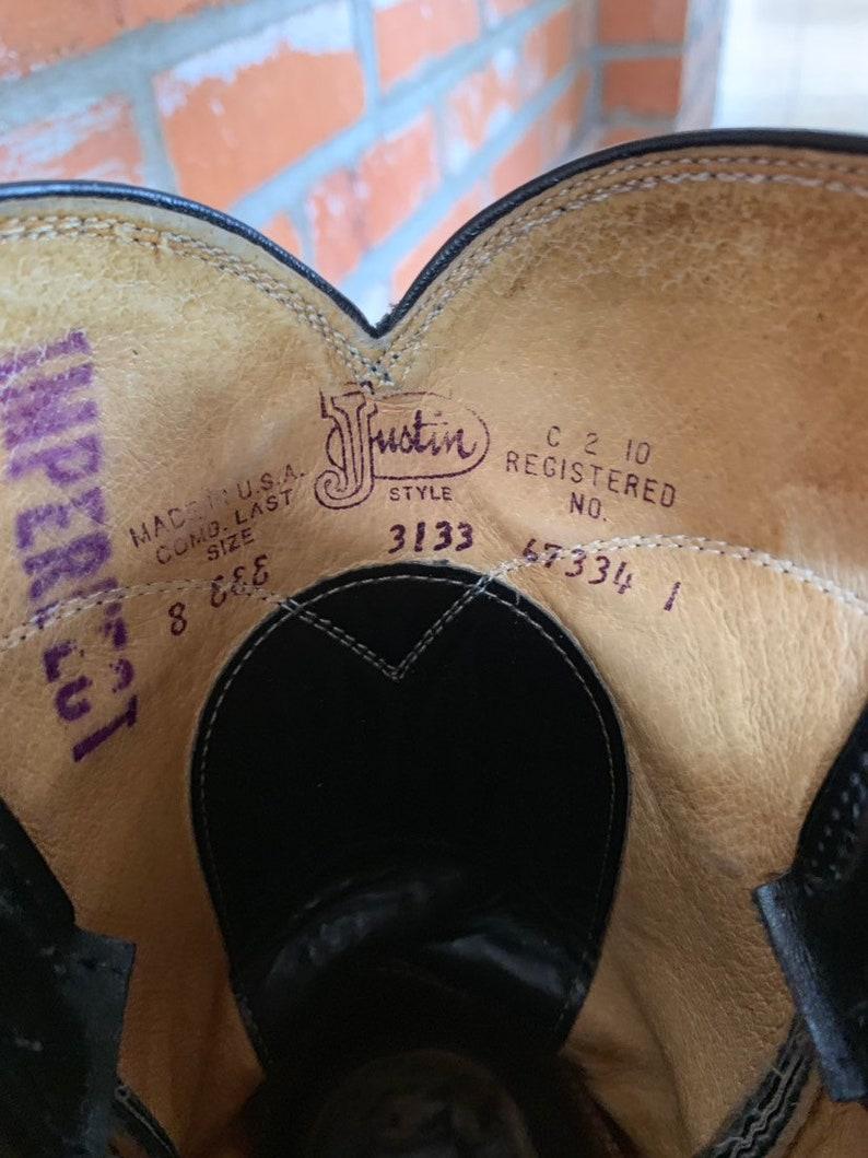 1990s Justin \u201cJackson\u201d Classic Black Roper Cowboy Boots Size 8 EEE \u2022.Extra-Wide Width Boots