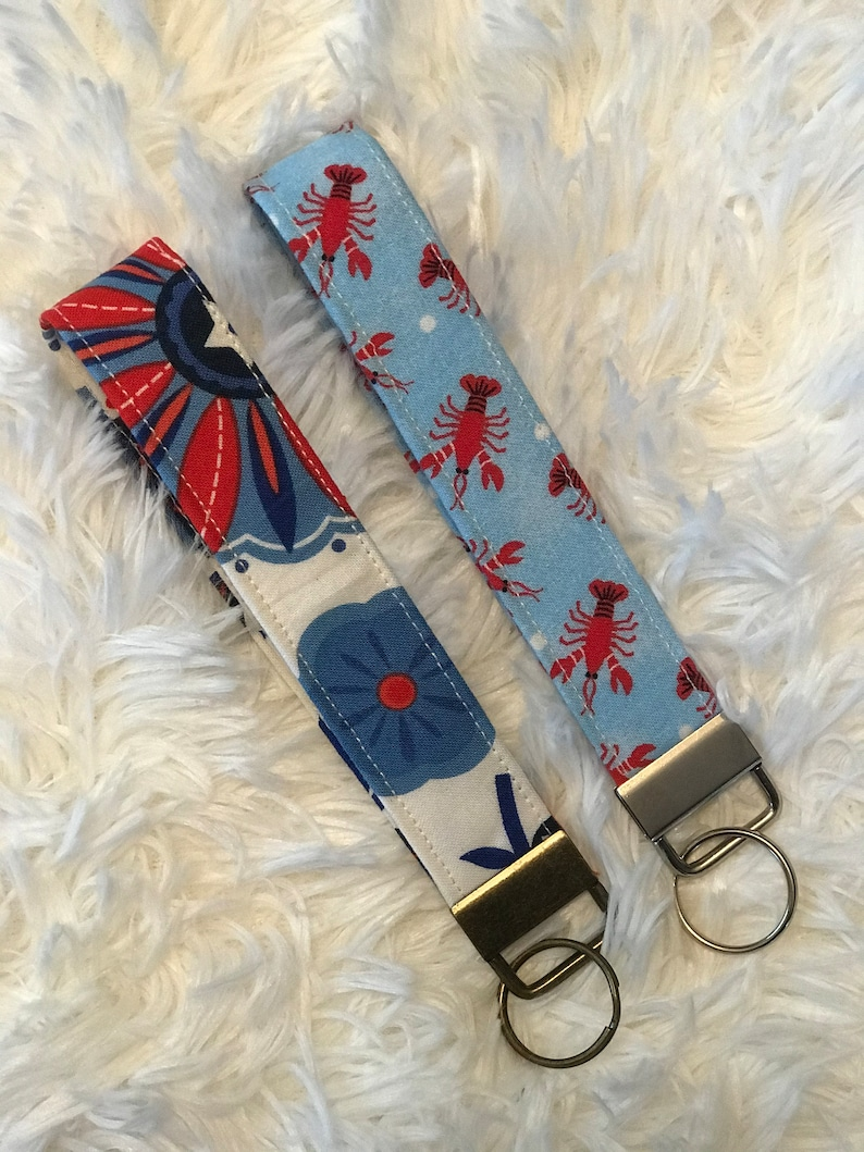 Fabric KeychainsLobster /& Floral Fabric