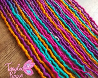 "Sweet Dreams 15DE 23-25"" wool dreads - purple, pink, blue & orange dreadlocks"