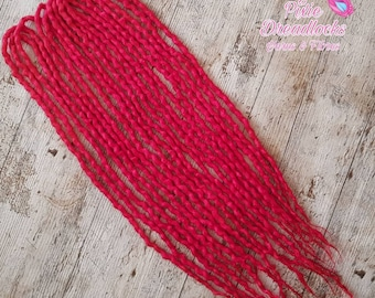 "10DE 21-24"" RUBY RED dreads - Ready to ship wool dreadlocks"