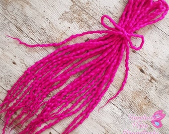 Custom ORCHID PINK double ended wool dreads - You choose quantity and length
