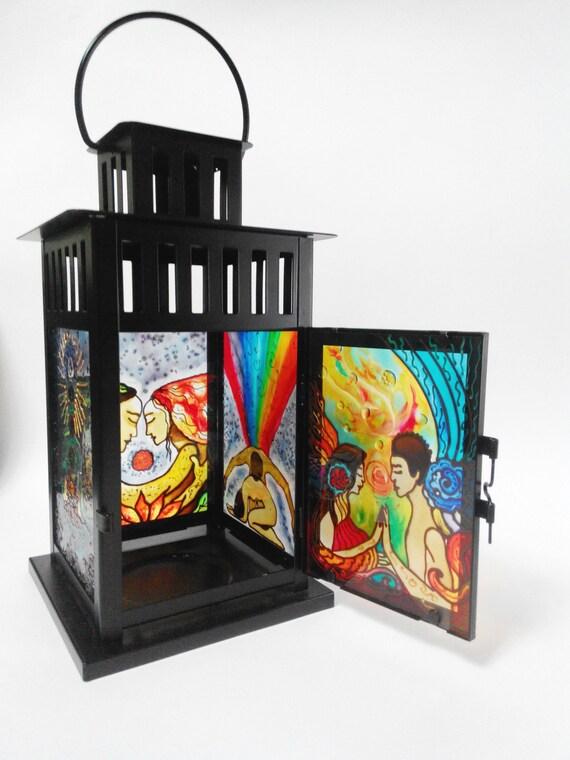 lanterne porte bougie bougeoir en verre vitrail verre etsy. Black Bedroom Furniture Sets. Home Design Ideas