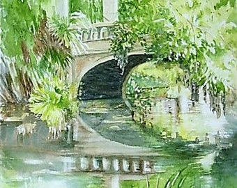 City Park Seclusion Original WC 11x15 in of New Orleans park bridge