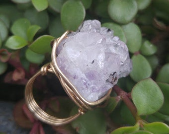 Amethyst and Gold Wire Wrapped Ring