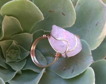 Rose Quartz and Gold Wire Wrapped Ring