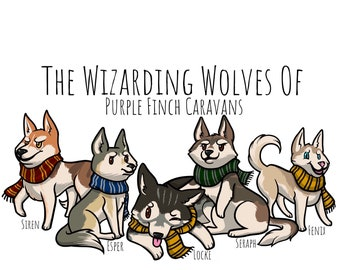 Pack Pride - Wizarding Wolves Of Purple Finch Caravans - Gloss Vinyl Stickers & Magnets