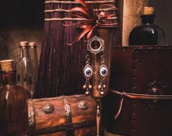 """Protective Amulet - """"Azure Vigils"""" - Evil Eye Hoop Earrings"""
