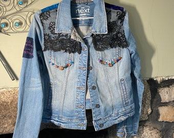 Refashioned Denim Jacket, Boho Jacket, Hippie Jacket, Bohemian Style, Festival outfit, unique denim jacket, upcyled denim jacket