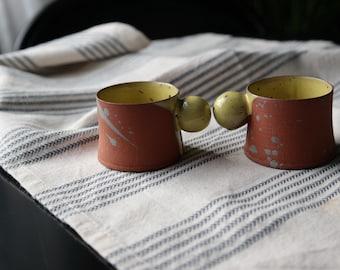 2 oz espresso cup, Yellow espresso mug, Espresso cup with ball handle, Terracotta ceramic cup, Coffee lover gift, 56ml handmade coffee mug