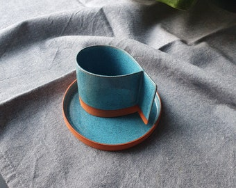 Blue color drop shape handbuilt espresso cup, Espresso coffee tumbler, Handmade coffee cup, Espresso cup with saucer, Coffee lovers gift