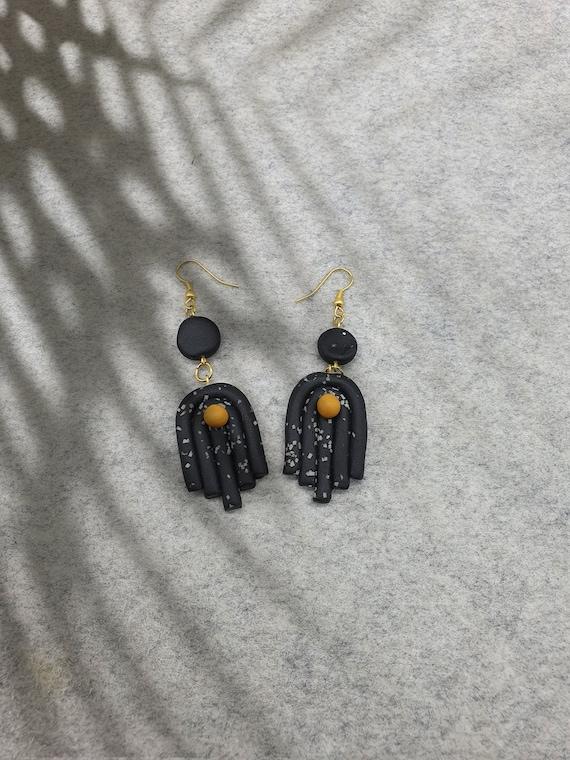 Black Arch Polymer Clay Earrings