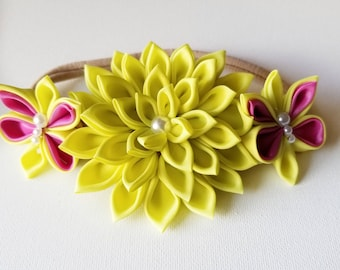 Flower Headband Baby - Flower Crown - Yellow Headband - Baby Headband - Toddler Headband - Yellow Flower Headband - Yellow Bow