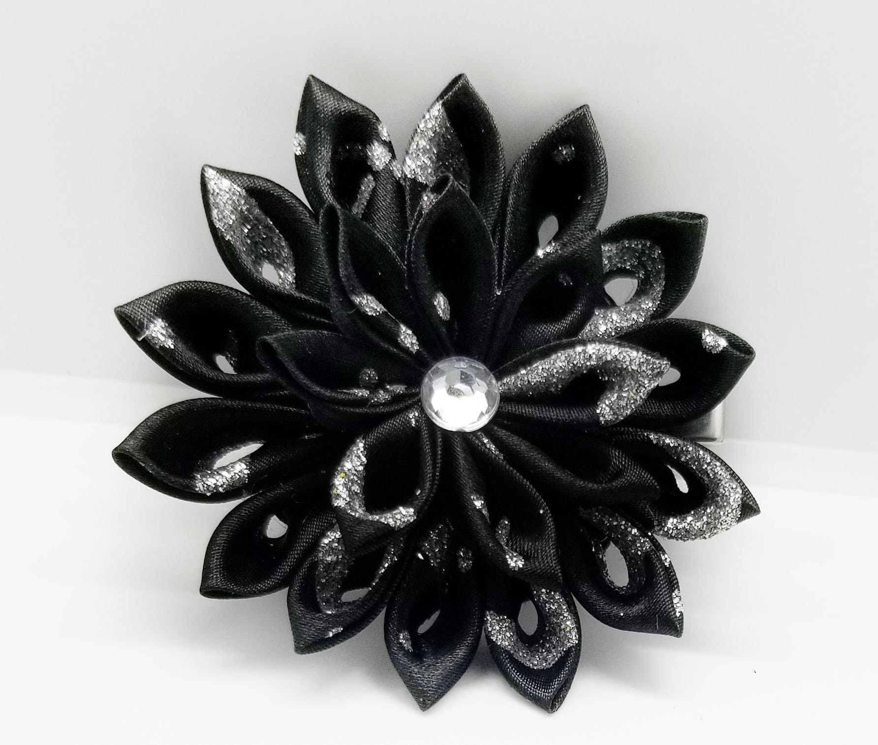 Black And Silver Flower Hair Clip Black Kanzashi Hair Flower Etsy