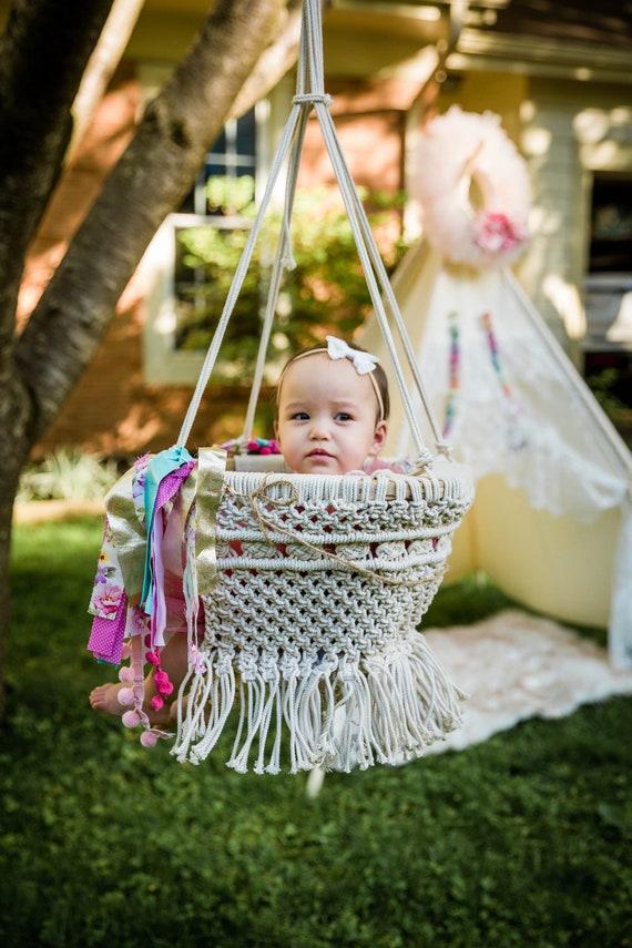 Macrame swing-Handmade swing-Baby swing chair-Baby shower gifts-Outdoor Hammock