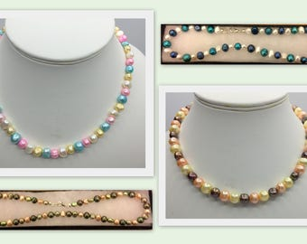 Multicoloured Real Cultured Pearl Hand Made  Necklace