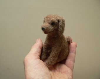 Puppy dog needle felted with shetland sheep's wool