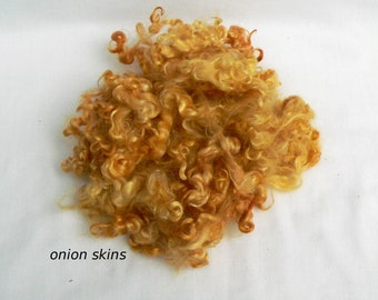 Plant-dyed mohair onion skins