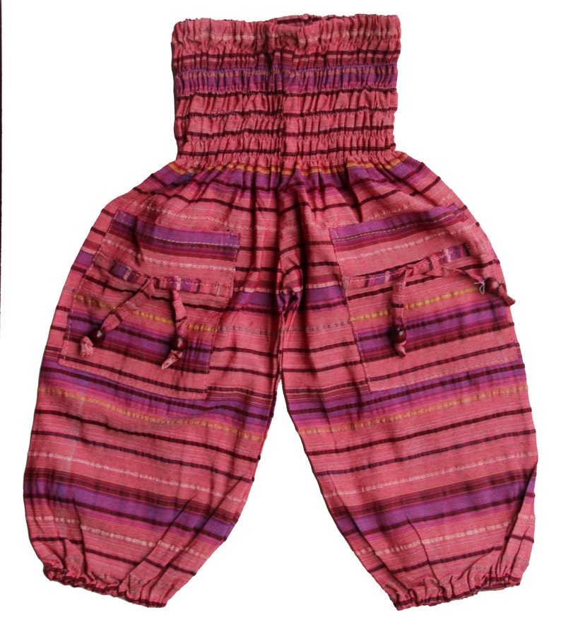 Pink and Grey   Alladin Pants  Gypsy Pants Soft cotton trousers KidsChildrens Harem Pants in Stripe pattern in brown Blue
