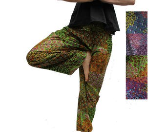 XXXL Plussize Harem Pants Unisex Mesmerized Green  /Yoga Pants / Alladin Pants / Maxi Pants/ Gypsy Pants/ Soft rayon trousers