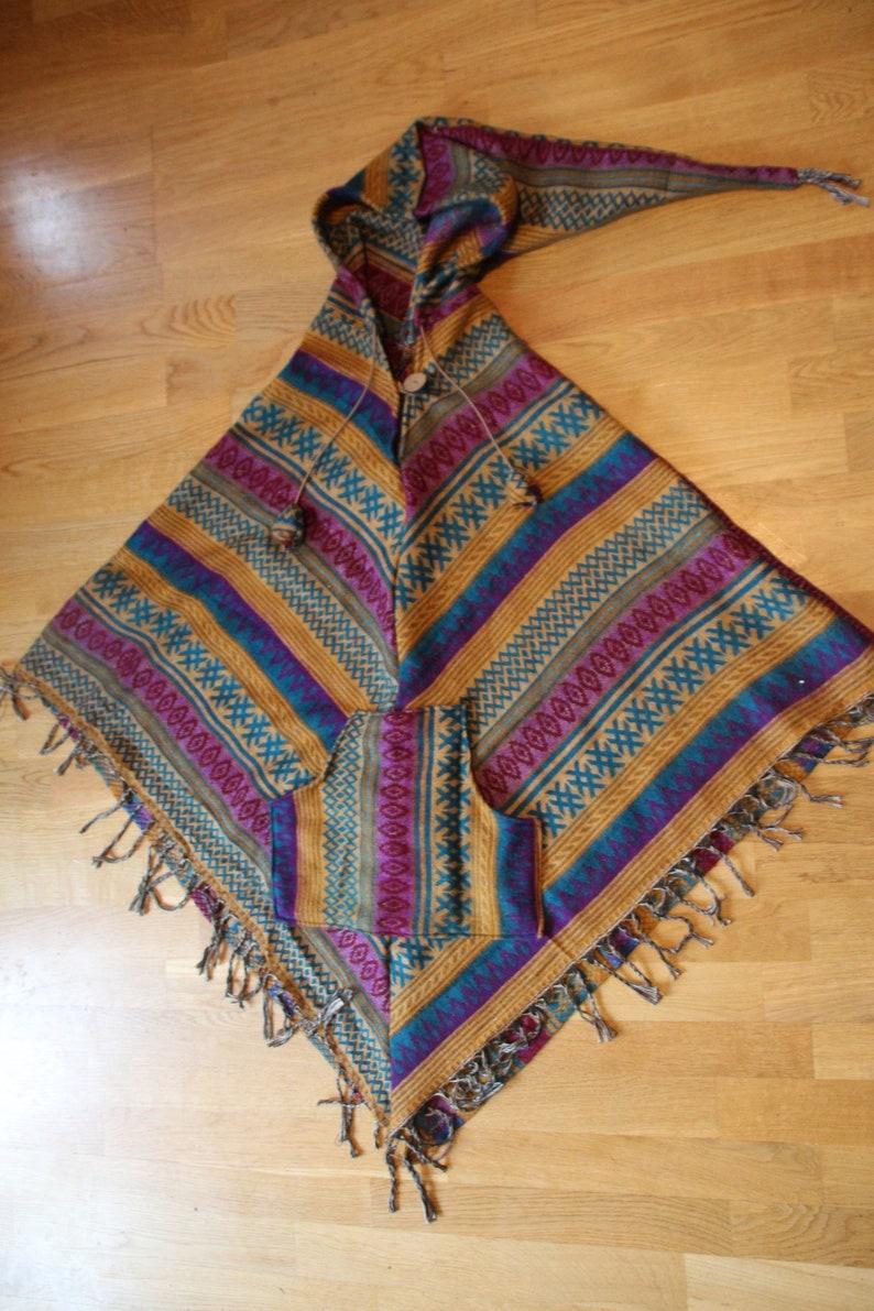 Bohemian Handmade Wool Poncho  hippie poncho  travel poncho  festival poncho  colourful poncho