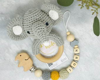 Schnullerkette mit Namen Personalized pacifier clip with crochet jellyfish for girl or boy with name Attach\u00e9 tetine personnalise Dummy clip
