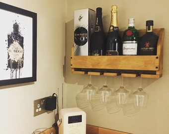 Wine rack, Drinks rack, Mother's Day Gift, rustic, wine gift, wood anniversary, housewarming, scandi