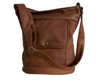 fe22f7b839 Vintage sack brown vegan   simple minimal bag   fake suede nubuck   vegan  leather   vegan bag   crossbody bag   shoulder bag school everyday