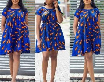 Folu African flared dress, Ankara dress African clothing, women clothing, women dress, African dress