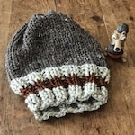 Unisex Knitted Slouchy Beanie Toque with Burnt Orange Stripe