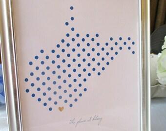 West Virginia Dots 8x10 print