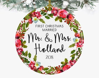 first christmas married mr and mrs ornamentfirst year married wedding ornamentpersonalized newlywed giftcouples ornament