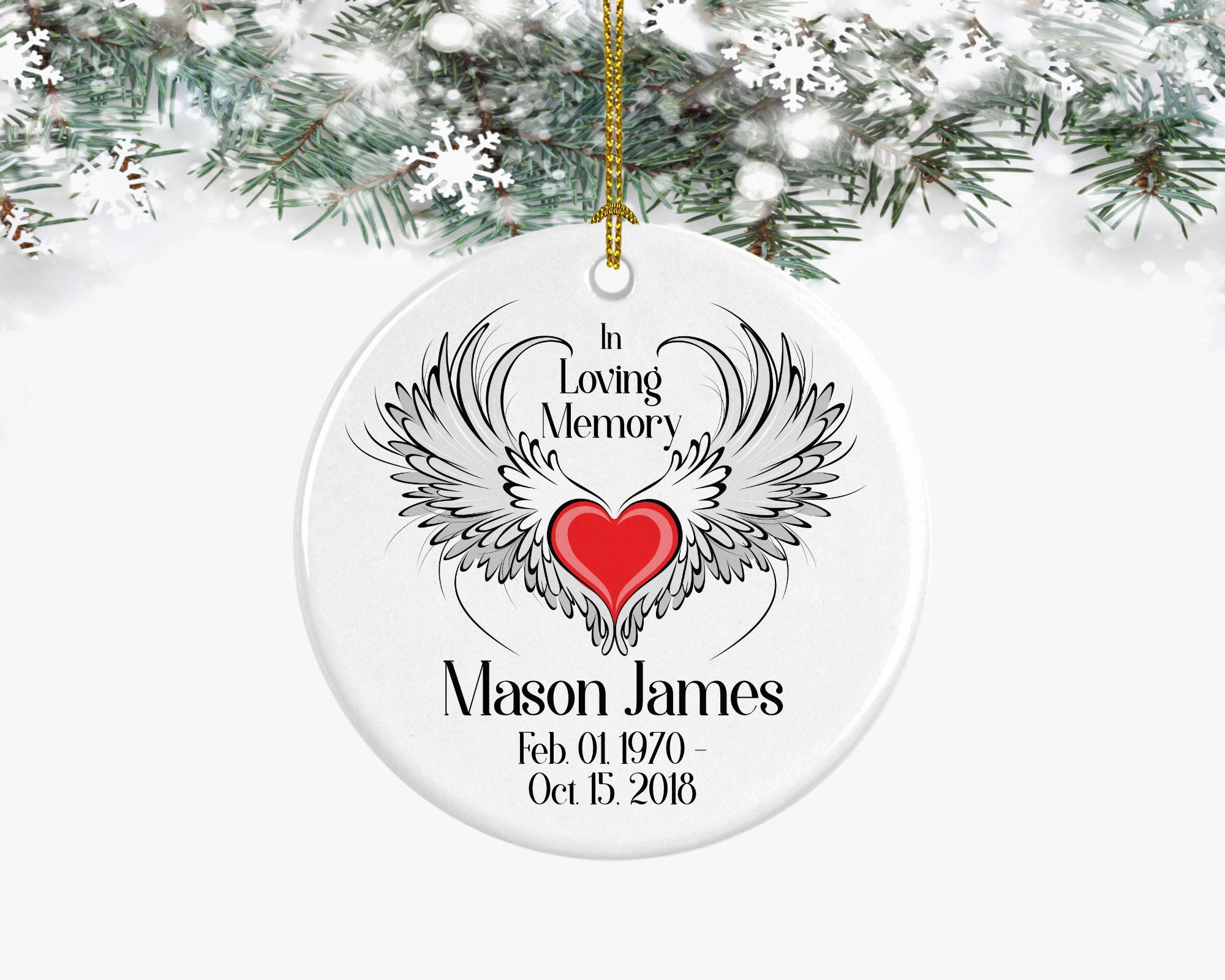 In Loving Memory Heart and Wings Personalized Memorial | Etsy