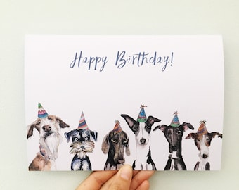 Greyhound Card Dog Birthday Happy Made By Harriet Hat Whippet
