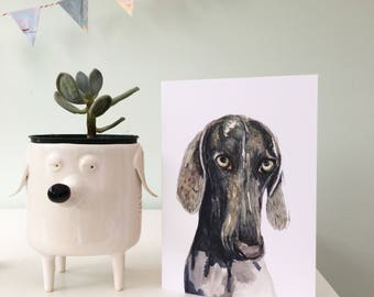 weimaraner card, weimaraner dog, weimaraner owner, Weimaraner gift, Weimaraner painting, Weim dog, Made by Harriet, Dog card, Dog gift, dog,