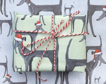 Limited edition Christmas Dog wrapping paper, greyhound paper, dog xmas wrap, dog paper, dog gift, dog lover, greyhound gift, dog wrap,
