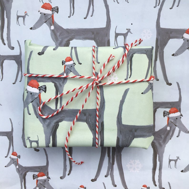 Limited edition Christmas Dog wrapping paper greyhound paper Blue / Green