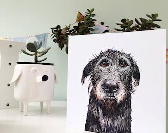 Wolfhound card, Irish Wolfhound, Wolfhound gift, Wolfhound present, Wolfhound love, Irish wolfhound, scottish deerhound, Wolfhound art,