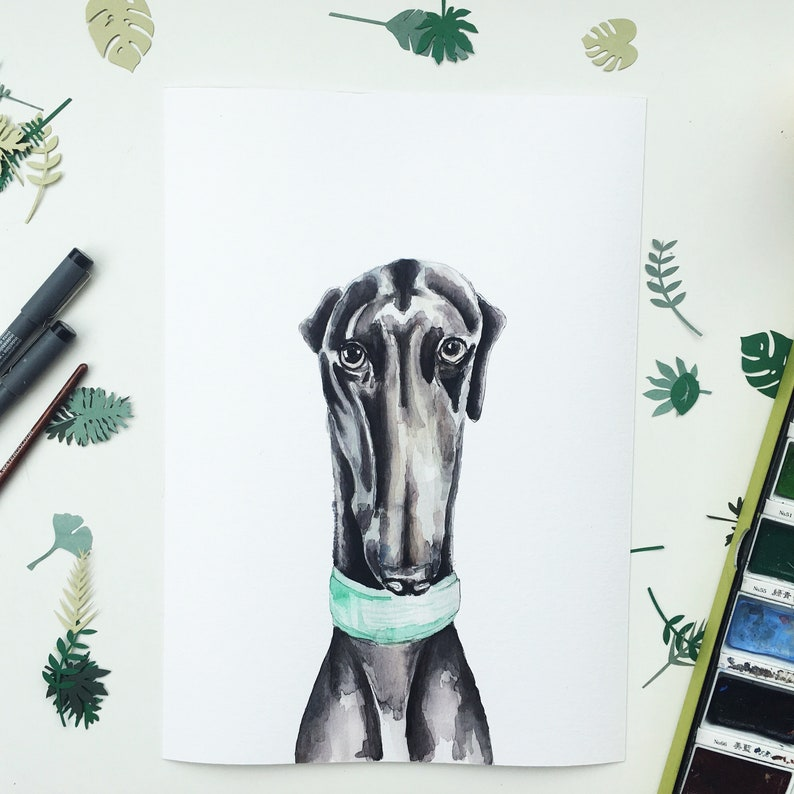 Birthday Gift Gifts Xmas Greyhound Art Print Painting Poster Wall Art Picture