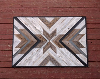 Geometric Wood Wall Art Etsy
