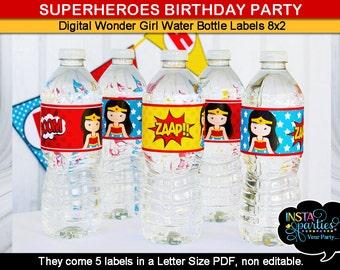 Wonder Woman water bottle labels wraps wrappers sleeves superheroes Birthday Party digital printable file party supplies girl superhero cute