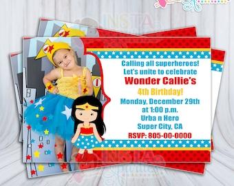 Invitaciones Mujer Maravilla Superhéroe Bebe Niña Niñas Etsy