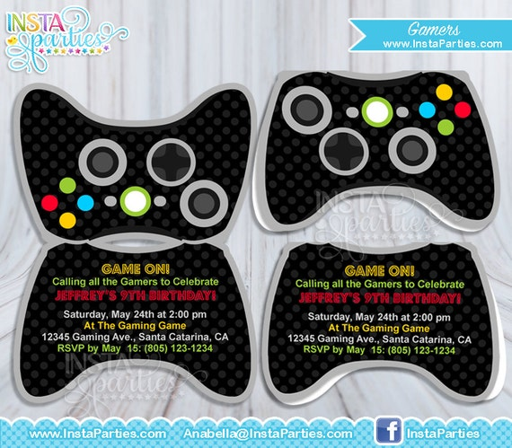 Gamer Xbox Invitations Control Game Truck Birthday Etsy