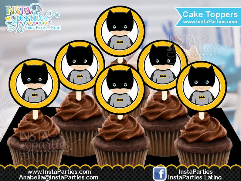 graphic regarding Batman Cupcake Toppers Printable named Batman cupcake toppers Electronic document cup cake topper toper superhero superheroes birthday get together tags labels Birthday Bash electronic printable