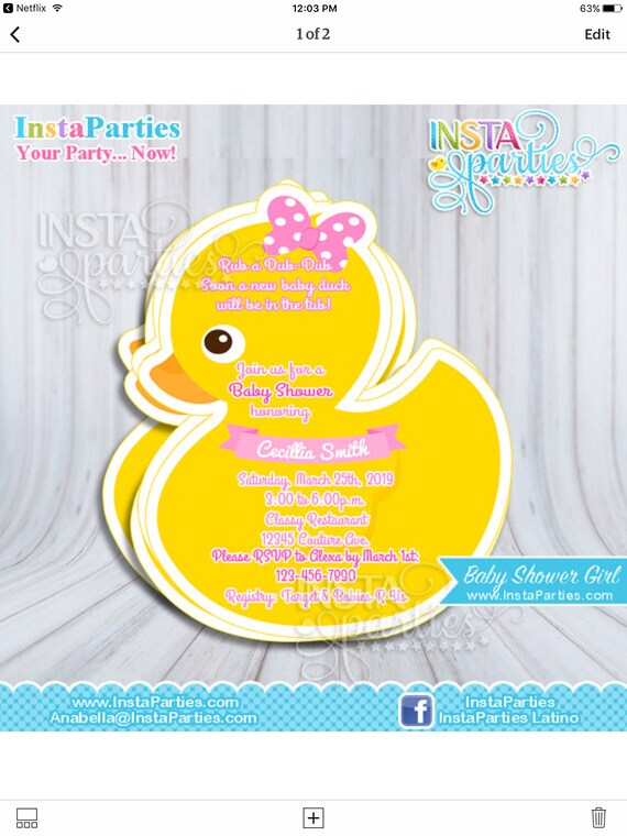 Rubber duck invitations baby shower boy girl baby ducky etsy image 0 filmwisefo