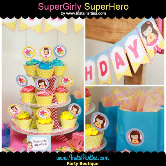 SUPER GIRL Party Pack Superhero DIGITAL Pink Yellow Cupcake