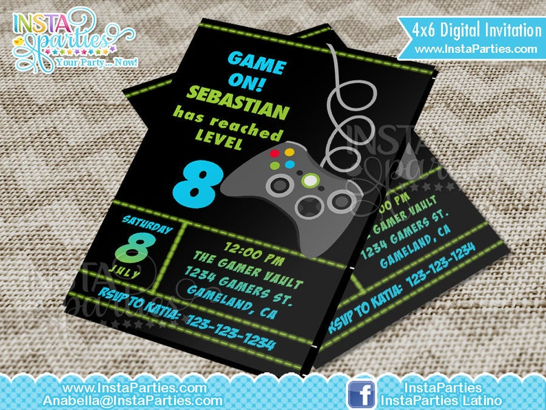 GAMER Party Invitations Xbox Control Game Truck Birthday